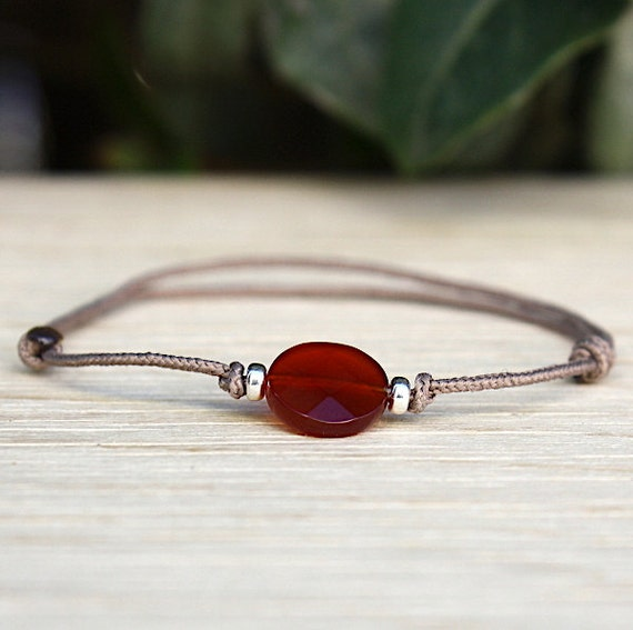 Bracelet red agate round bead and rondellles 925 Silver