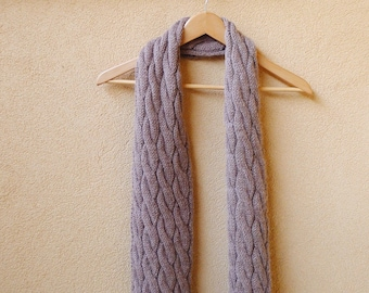 Hand knit Unissex Wool Scarf, Cable Knit Scarf, Alpaca, Wool, Mens Scarf, Simple knit acessories