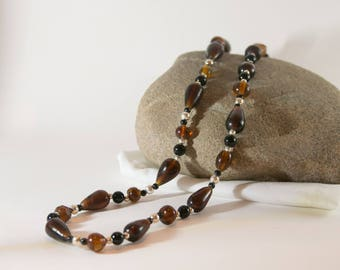 Chocolate Teardrops Long Necklace