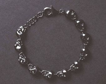 Mens Silver Skull armband