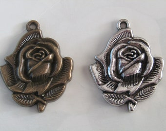 Large Rose Pendant Detailed Antique Silver or Antique Bronze  35mm x 28mm  Set of 3  Flower Pendant Rose Charm Jewelry Supplies Carved Rose