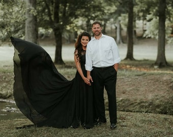 Black Full Circle dress, engagement dress, photo session dress, short lining, lace top