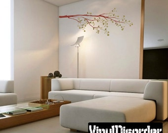 Floral Tree Branch Wall Decal - Wall Fabric - Vinyl Decal - Removable and Reusable - FloralBranchUScolor007ET