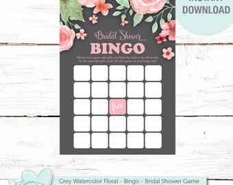 Bridal Shower Bingo Game, Grey Watercolor Floral, Instant Download, Printable, Flowers, Bingo, Printable Bingo, Bridal Bingo, Rustic, 006A