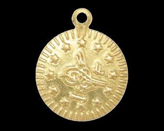 200 pcs 16 mm raw brass circle ottoman sign tag,raw brass  charms ,raw brass  pendant. raw brass findings 125R-145