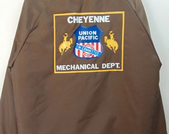 1960-70's Cheyenne Railroad Union Pacific (40-42 M)mid weight  fleece lining Vintage Jacket Chest 48 inches