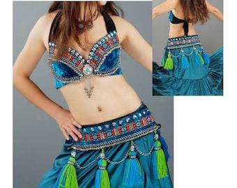 Velvet Tribal Bra & Belt Set w/ Bells - Tribal Fusion/ Latin/ Salsa/ SteamPunk/ Belly Dance/ Dancewear/ Cosplay/ Comic Con/ Pin Up/ Gothic