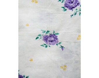 50s Floral Fabric Yardage - 4.35 Yards x 36 Inches Wide - 1950s Purple Roses - Yellow Daisies - White Cotton - Lavender Flowers - 42768