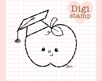 Graduation Apple Digital Stamp - Apple Digital Stamp - Digital Graduation Stamp - Apple Art - Graduation Card Supply - Summer Craft Supply