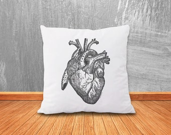 Heart pillow cover-human heart pillow-anatomy pillow-steampunk pillow-heart cushion cover-love pillow-holiday gift-by NATURA PICTA-NPCP010