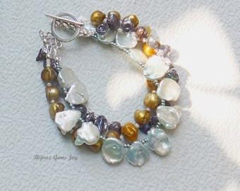Sea Treasures Bracelet, Freshwater Baroque & Keshi Pearls, Sterling Silver