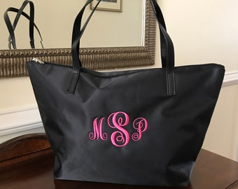 Monogrammed Tote - Personalized Tote Bag - Bridesmaid Gift - Bridesmaid Tote Bag - Nylon Custom Name Bag - Various Colors