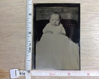 Vintage Old Antique Baby Tin Type Photo Used