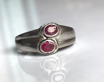 Double band design ruby ring in 925 sterling silver