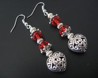 Filigree Heart Jewelry Earrings, Red Heart Earrings, Red Swarovski Earrings, Renaissance Jewelry, Goth Jewelry, Love Jewelry, Celtic Jewelry