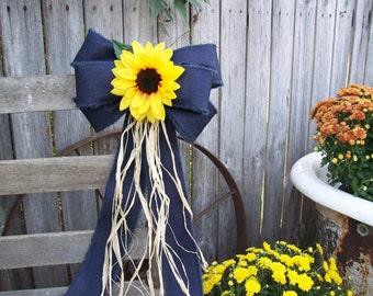 Sunflowers, Sunflower and Denim Pew Bow, Sunflower Wedding, Navy and Yellow, Church Aisle Decoration, Pew Bows, Rustic Wedding, Barn Wedding