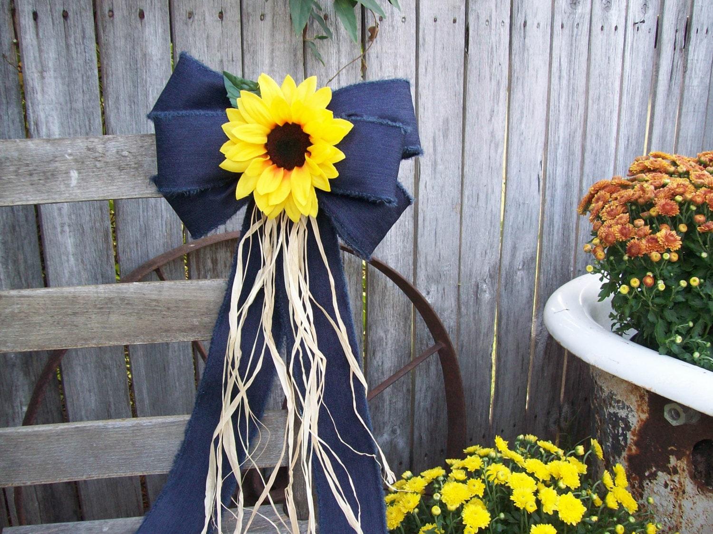 Sunflowers sunflower and denim pew bow sunflower wedding zoom junglespirit Image collections
