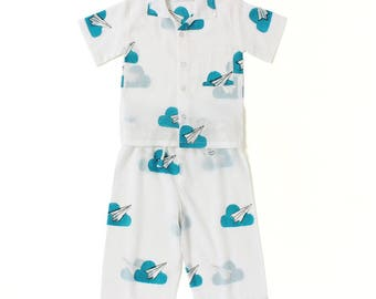 Cotton kids wear, play wear, Organic Baby pants and shirt set, Handmade kids clothing, Paper planes print, Matching shirts & pants set