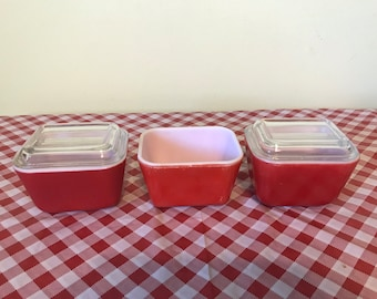 Three Small Pyrex Primary Red Refrigerator Dishes