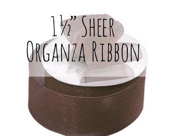"1 1/2"" Chocolate Brown Ribbon, 1.5 Inch Ribbon, Brown Sheer Organza Ribbon, Brown Gift Ribbon, Gift Wrap, Wedding Supplies, Decoration"