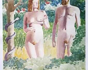 1980s Adan & Eve Exhibition Poster Sweden - Original Vintage Poster
