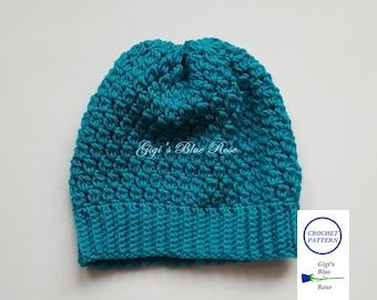 CROCHET PATTERN/Woman's Puff Stitch Winter Hat Pattern/PDF Pattern Only