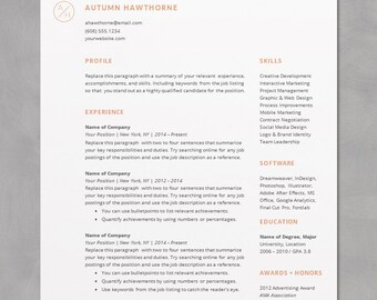 Minimal Modern Resume / CV Template   Word, Mac Or PC, Professional, Free