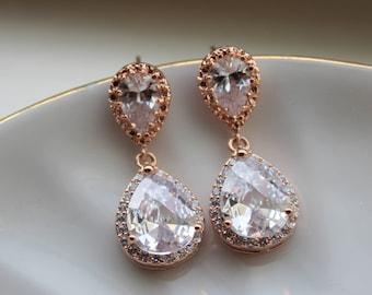 Rose Gold Earrings, Crystal Stud Earrings Crystal Jewelry Bridal Jewelry Wedding Jewelry, Bridal Earrings, Wedding Earrings, Bridesmaid Gift