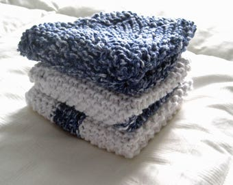 Hand Knit Cotton DishCloths Set of 3
