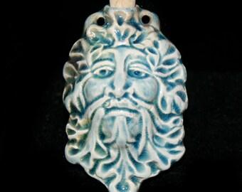 Raku Green Man Ceramic Bottle, Vessel