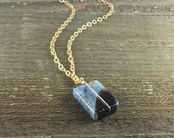 Long Gold Necklace with Blue Agate Stone Pendant / Wire Wrapped Gemstone / Layering Necklace / Gift for Her / Rectangle Stone