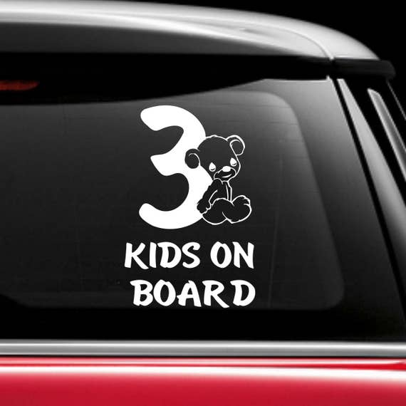 3 kids on board car sticker decal car window decal baby