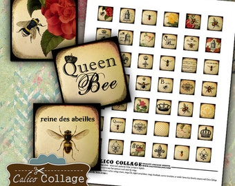 Queen Bee Collage Sheet - Digital Collage Sheet .85 inch size Images Printable Download for Square Pendants Magnets Bezel Trays
