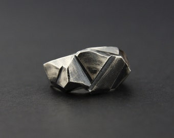 High Facet Ring: Oxidised Sterling Silver Faceted Ring