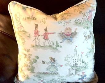 Throw Pillow with Cording | Over the Moon Nursery Rhyme Toile White Pink | Baby Girl  Shower Gift