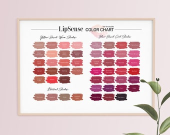 Lipsense Color Chart, Top 50 Colors, 50 LipSense Colors, Lipsense Poster, Digital Download