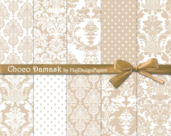 Choco Damask - Instant Download, Digital damask paper, damask patterns, damask background, wedding invitations, scrapbook paper, brown