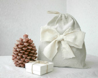 Linen drawstring pouch gift bag reusable eco friendly shabby bow christmas