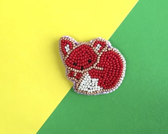 Brooch Red Fox,fox brooch,Embroidered brooch, Beaded brooch, Embroidery jewelry, animal brooch,Gift for women