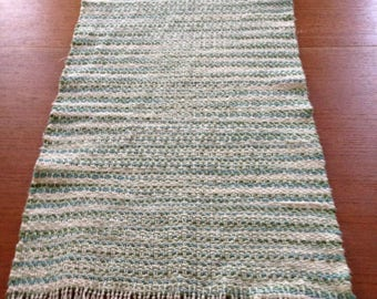 Handwoven table runner in Emerald Isle cotton yarn