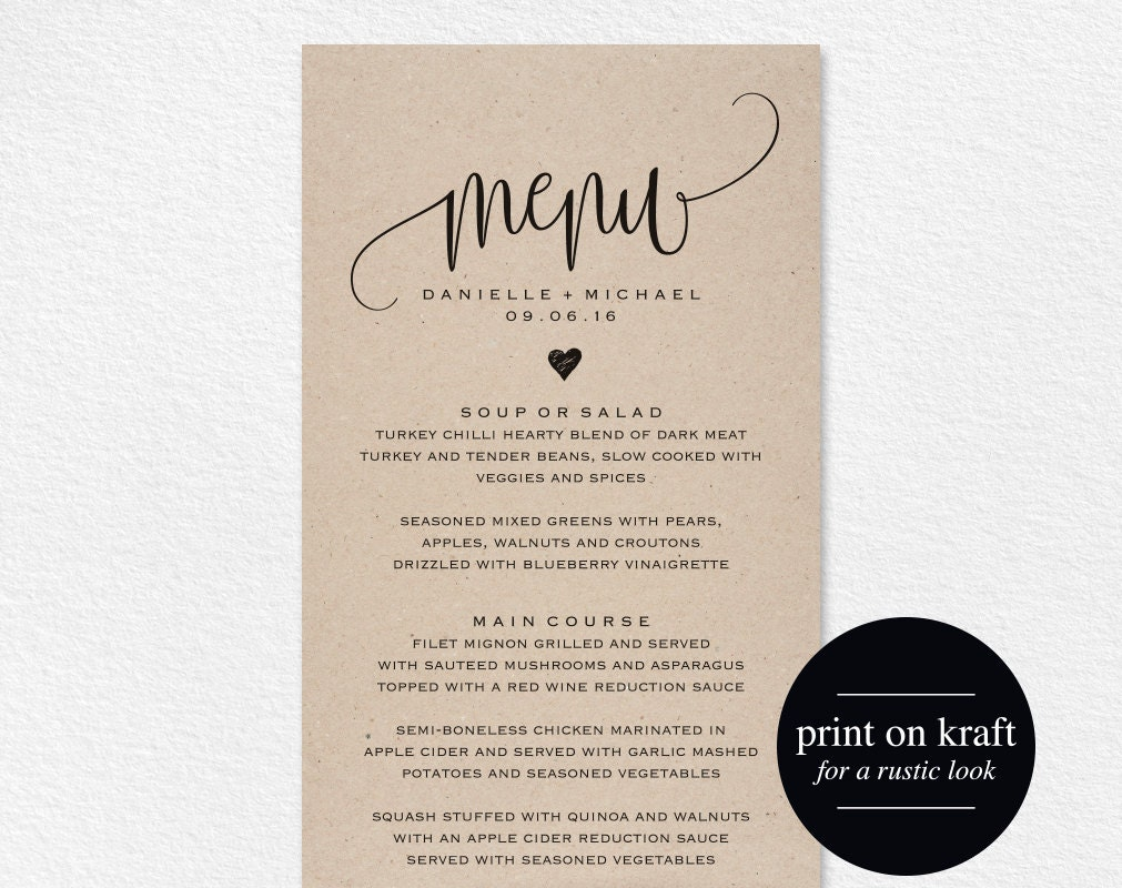 Rustic wedding menu wedding menu template menu cards menu for Wedding menu cards templates for free