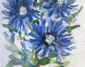 Original ACEO watercolor painting -Blue Flowers- Miniature Painting, Small Painting, Art and Collectables - ACEO Watercolor 2.5 x 3.5 inches