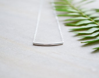 Silver Bar Necklace | Sterling Silver Bar, Simple Bar Necklace, Minimalist Necklace, Delicate Silver Necklace, Geometric, Modern Necklace