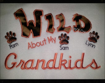 Grandparents sweatshirt - Wild about my grandkids embroidered crew neck sweatshirt - custom grandma sweatshirt