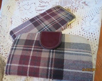 A tartan purse and spectacle case