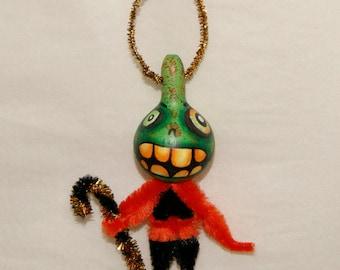 Sale! Gourd Halloween Folk Art Ornament, Green Jol, Primitive, OOAK  Haunted Halloween Ornaments (A 12)
