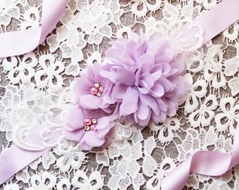 Lavender Sash Belt Wedding Sash Belt Bridal Sash Belt - Bridesmaid Flower Girl Sashes Belts - Rhinestones Flower Sash Belt Floral Sash Belt