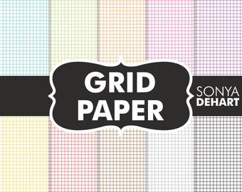 80% OFF SALE Digital Paper Grid Paper Scrapbooking Printable Paper Pattern Pack