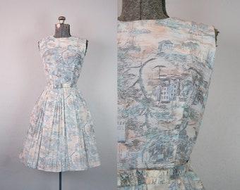 1960's Blue and Blush Shipping Village Novelty Print Sun Dress / Size Small Medium