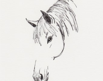 Horse Drawing, Equine Art, Horse Sketch, 6x8 Original Pen and Ink